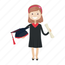 girl, graduation, kid, student icon