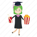 girl, graduation, popcorn, student icon