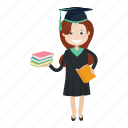 girl, graduation, reader, student icon