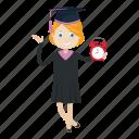 alarm clock, girl, graduation, student icon