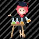 experiment, graduation, lab, student icon