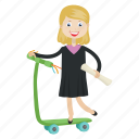 girl, graduation, scooter, student icon