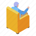 family, cartoon, armchair, grandfather, isometric, woman, resting icon