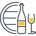 barrel, bottle, glass, grape icon