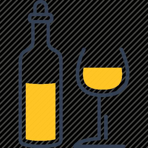 bottle, glass, grape, wine icon