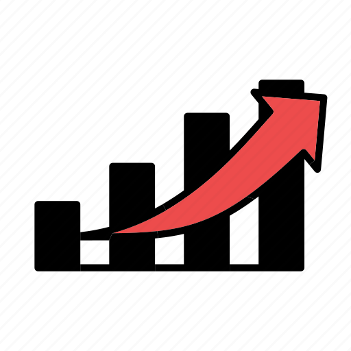 bar graph, graph, increase icon