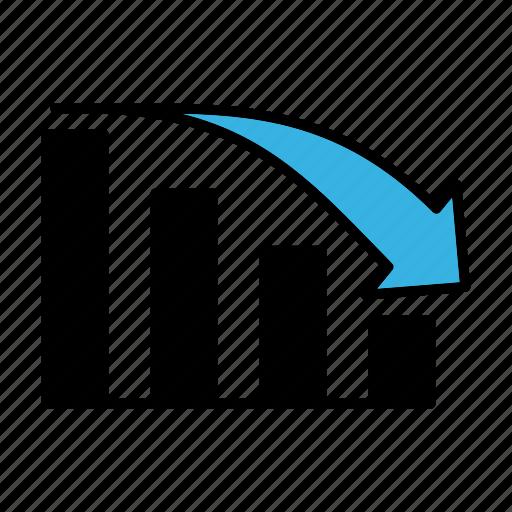 bar graph, decline, graph icon