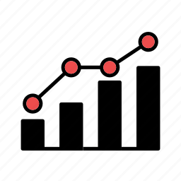 bar graph, correlation, graph, increase, line graph icon