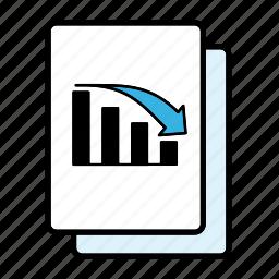 bar graph, decline, file, graph icon