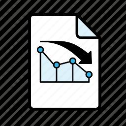 bar graph, decline, graph, line graph icon