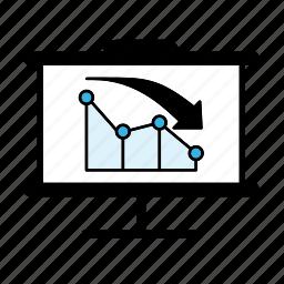 decline, graph, line graph icon
