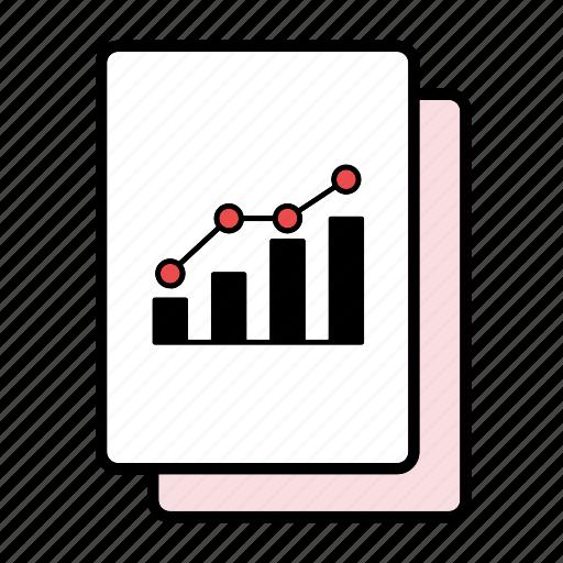 bar graph, correlation, file, graph, increase, line graph icon
