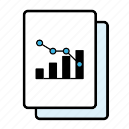 bar graph, correlation, decline, graph, line graph icon