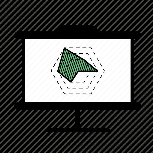 graph, hexagon graph, presentation icon
