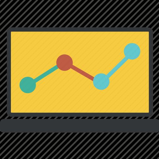 analytics, chart, circle, computer, diagram, graph, laptop, sales, statistic, statistics icon