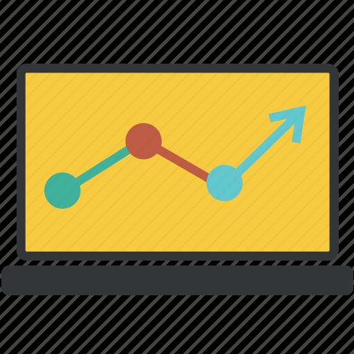 analytics, arrow, chart, circle, computer, diagram, graph, laptop, sales, statistic, statistics icon