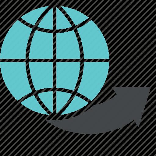 arrow, business, finance, globe, graph, money, trade, world, worldwide icon
