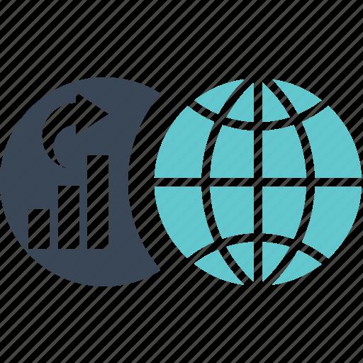 business, finance, globe, graph, money, trade, world, worldwide icon