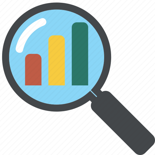 analytics, business, chart, diagram, find, graph, loupe, monitoring, report, search, seo icon