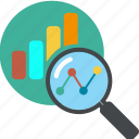 analytics, business, chart, diagram, find, glass, globe, graph, loupe, monitoring, report, search, seo
