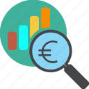 analytics, business, chart, diagram, dollar, euro, find, glass, globe, graph, loupe, money, monitoring, report, search, seo