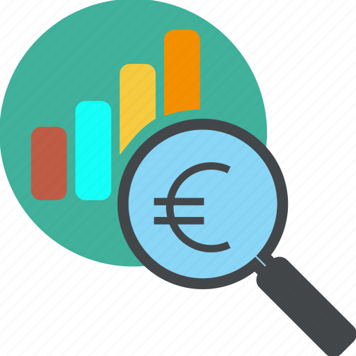 analytics, business, chart, diagram, dollar, euro, find, glass, globe, graph, loupe, money, monitoring, report, search, seo icon