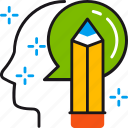 creative, head, idea, mind, pencil, project, solution icon