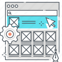 front end, internet, user experience, user interface, web design, website, wireframe icon