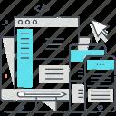 adaptive, interface, responsive design, laptop computer, application, website, phone icon