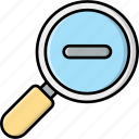 zoom out, magnifying glass, loupe
