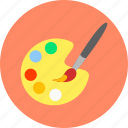 art, brush, color, painting, palette, tray, watercolor icon