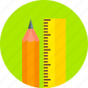 draw, drawing, equipment, graphic, pencil, straight edge, tools icon