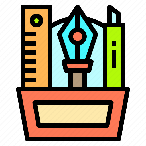 case, computer, creativity, office, pencil, professional, technology icon