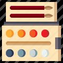 art, artistic, color, design, paint, palette, tools icon