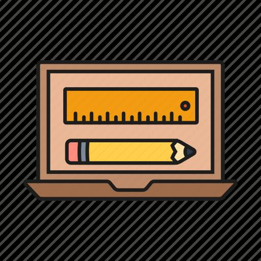 design, graphic, pen, portfolio, ruler icon