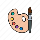 brush, colors, design, graphic, palette icon