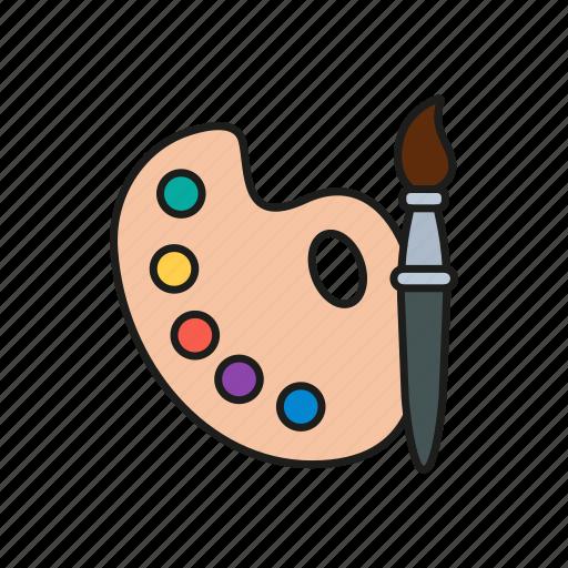brush, colors, design, graphic, palette icon