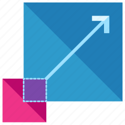 arrow, design, graphic, resize, square, tool icon