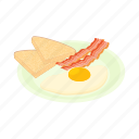bacon, breakfast, cartoon, eggs, food, meal, plate icon