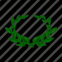 laurel, laurel wreath, leaf, plant, wreath icon