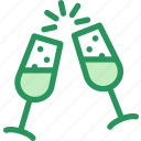alcohol, champagne, glasses, holidays, new, toast, year icon