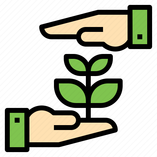 Ecology Friendly Environment Green Hand Nature Plant Save Icon