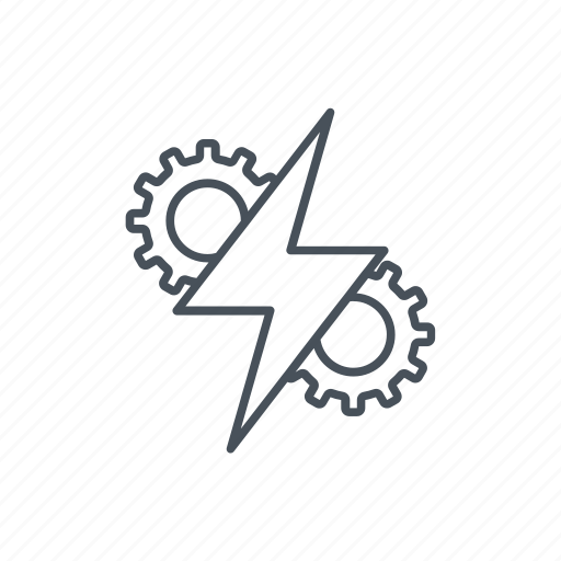 beam, bolt, electric, electricity, energy, gear, research icon