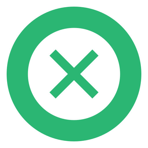 crossed, denied, deny, failed, failure, green, times icon