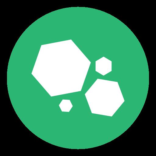 galaxy, green, hex, hexagon, planets icon