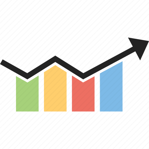 arrow, bar chart, development, graph, growth, progress icon