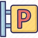 parking area, parking info, parking sign, parking sign board, road sign icon