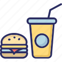 burger, drink, fast food, food, junk food icon