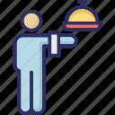 food server, food service, hotel staff, waiter, waiting staff icon