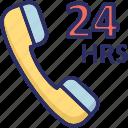 customer service, customer support, full service, helpline, twenty four hours icon